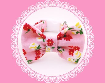 Pink Rose & Daisy Flowers w/ Bow Dog or Puppy Collar