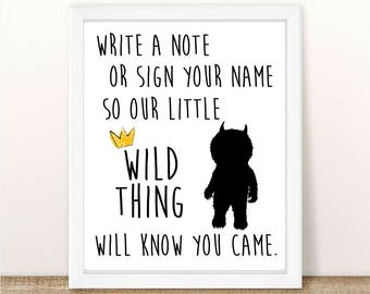 Where the Wild Things Are Guest Book Sign, Baby Shower, Wild One Birthday Party, First Birthday, Printable, INSTANT DOWNLOAD, 8.5x11