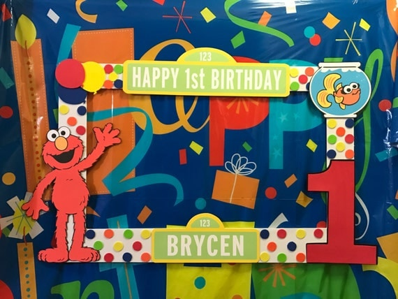 Sesame Street Elmo Birthday Party Photo Booth Frame