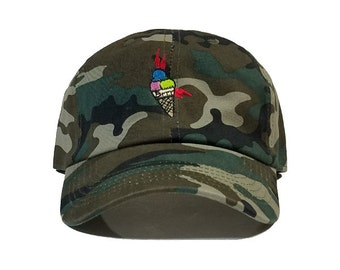 Gucci Mane Ice Cream Cone Embroidered Baseball Hat | Camouflage