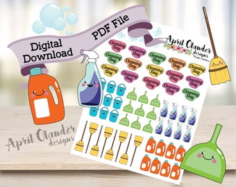 Digital Download Cleaning Planner Stickers