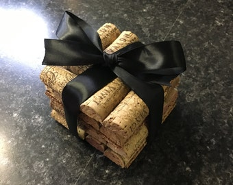 Wine cork coasters, cork coasters, set of fours