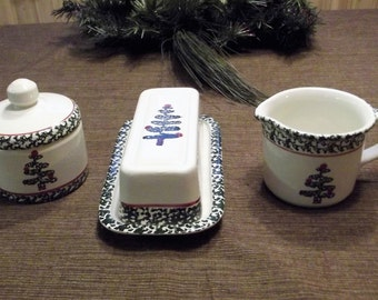 Furio *-* SPONGE CHRISTMAS TREE *-* Creamer, Sugar Bowl & Butter Dish Set