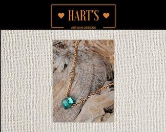 Tiny Teal Chrome Tourmaline Gemstone 14K Gold Necklace