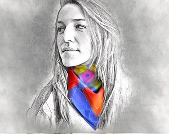 FEASTING printed scarf, bandana, scarf, gift for her, colorful scarf, rainbow scarf, multicolor scarf, cotton scarf, neck scarf