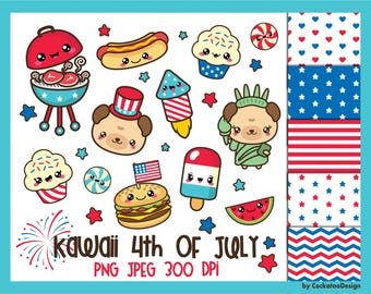 50% OFF, 4th of July clipart, 4th of July clip art, kawaii clip art, patriotic clipart, kawaii clipart, 4th digital papers, Commercial Use