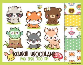 50% OFF, Woodland clipart, spring clipart, woodland animals clipart, woodland clipart, kawaii animals clipart, woodland baby animals clipart