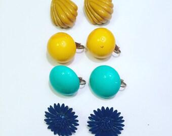 Set of 4: Vintage Clip-on Earrings