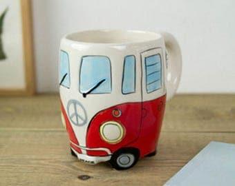 Double Decker Bus Hand Painting Retro Ceramic Mugs