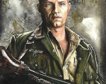 Inglourious Basterds original drawing, Tarantino ooak fan-art, Til Schweiger Sgt. Hugo Stiglitz Tarantino watercolor custom stars portrait