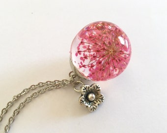 Pink Queen Anne's Lace encased in Sphere Resin Necklace, Orb Necklace, Resin Jewelry, Pressed Flower Necklace