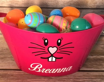 Personalized easter basket bunny tub plastic easter basket personalized easter basket bunny tub plastic easter tub oval tub gift basket negle Image collections