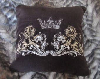 "Stunning decorative brown velvet embroidered handmade cushion cover home decor 16 x 16"" luxury vintage design  art gift  style"