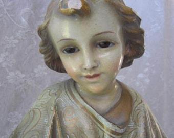 Spanish Religious STATUE Young JESUS Glass Eyes Spain CATHOLIC Religion Figure Figurine Chapel Church