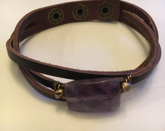 Leather Bracelet, Gemstone Bracelet, Amethyst, Gemstone Leather Wrap Bracelet, Gift, Women Gift
