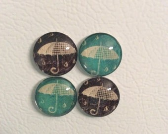 Teal and black umbrella magnets. Set of 4