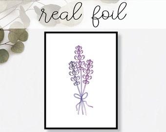 Lavender Print // Real Gold Foil // Minimal // Gold Foil Art Print // Home Decor // Modern Office Print // Fashion Print