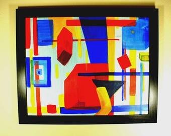 Hey Mondri-Original Abstract Art Using Primary Colors Original Acrylic,Abstract,Contemporary Art Modern Wall Art Canvas Painting Wall Decor