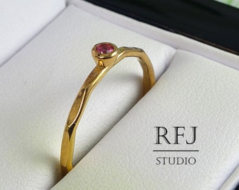 Faceted Lab Ruby Rose Gold Ring, July Birthstone Jewelry, 14K Rose Gold Plated Pink 2 mm Corund Ring, Rose Gold Stackable Gemstone Ring