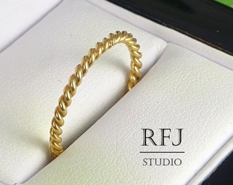 14K Gold Plated Braided Ring, Round Rope Rose Gold  Ring, Twisted Rose Gold Ring, Rope Ring, Rose Gold Twist Ring, Stackable Gold Ring