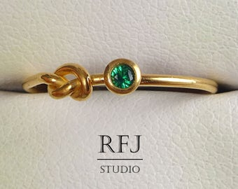 Rose Gold  Lab Emerald Knot Ring, May Jewelry, Green CZ 2 mm 14K Rose Gold Plated Friendship Ring, Simulate Green Emerald Promise Ring