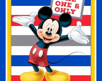 """NEW Disney Fabric, Mickey Mouse Panel: Disney Mickey Mouse The one & only Mickey with stripe 100% cotton Fabric by the panel 35.5""""x43"""" SC568"""