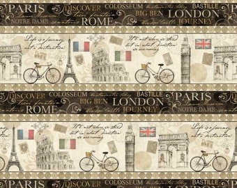 "Europe Trip: Prints A Ticket In Hand- Paris, Rome, London - Eiffel Tower, Big Ben, Flags STRIPE 100% cotton fabric by the yard 36""x43"" (M61)"
