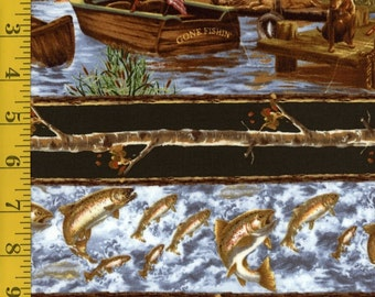 "Timeless Treasures C3874 Pine Gone Fishing Border 100% cotton fabric by the yard 36""x43"" (K385)"