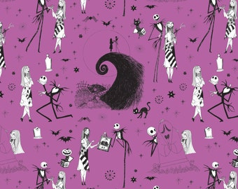 Disney Fabric-  The Nightmare Before Christmas - Jack & Sally in Orchid by Camelot 100% cotton Fabric by the yard (CA600)