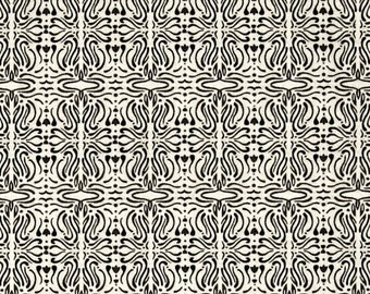 """Floral Fabric: A Close Shave Filigree Cream and Black by Quilting Treasures  100% cotton fabric by the yard 36""""x43"""" (K430)"""
