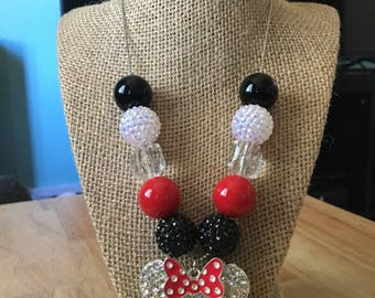 Minnie Mouse inspired beaded necklace! Free shipping!