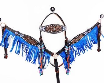 Blue Fringe Hand Tooled Navajo Arrow Bling Barrel Racer Leather Headstall Western Horse Trail Bridle Breast Collar Plate Set