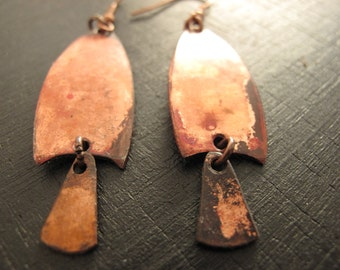Copper earring patinated is hot