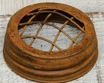 "6 Rusty FROG Lids , Fits Standard Mouth Mason Jars , 3"" opening ,rustic wedding, flowers, rusty tin lid"