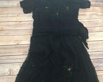 Delicate Vintage Black Beaded Detailed Chiffon Dress