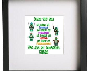 Teenage Mutant Ninja Turtles 3D lego frame My Dadd is Leonardo Raphael Michaelangelo Donatello kids classic tv
