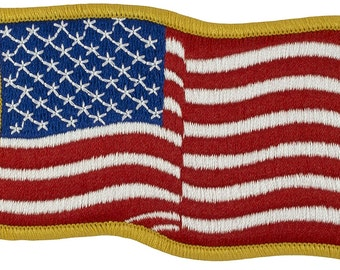"Waving US Flag Patch - Sew-on (M21) Forward Full Color Gold Border 2 1/4"" x 3 1/2"" - 66728"