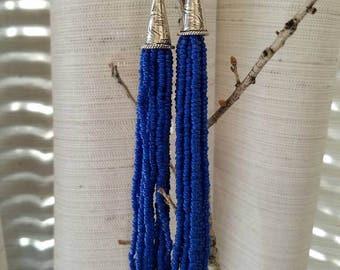 Long seed bead earrings, native american earrings, seed bead earrings