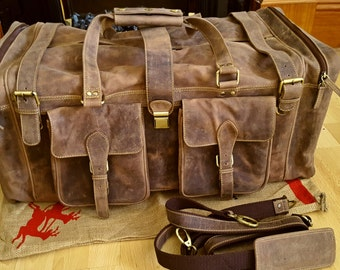 Vintage Leather Duffel Bag Brown Large  Leather Travel Bag Mens Leather Holdall Travel Bag for Men Handmade duffle bag Gifts for men l