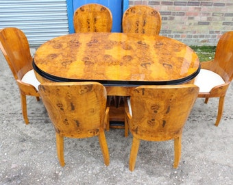 Antique Art Deco Style Furniture - Table With 6 Marching Chairs In Rosewood - Dining Room Furniture C402