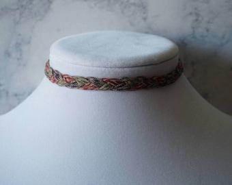 Multi-colored braided choker