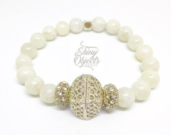 Moonstone, Silver, Crystal and Rhinestone Bracelet