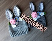 Crochet PATTERN Bunny Hat with Flowers crown, Crochet Easter Hat Pattern, newborn bunny hat; crochet pattern toddler bunny hat; child hat
