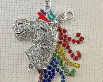 Rainbow Rhinestone Unicorn Needleminder / Rhinestone Unicorn Needleminder/ Rainbow Unicorn Needleminder