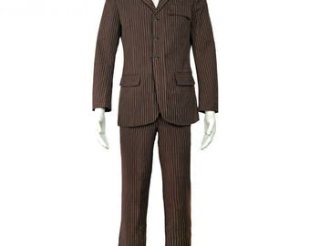 Doctor Who Dr Brown Pinstripe Business Jacket Suit Cosplay Costumes