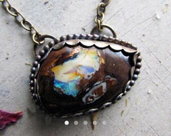Magestic boulder opal necklace