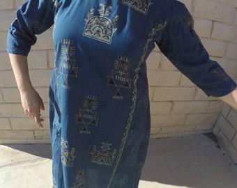 Long Polyester Vintage Navy Blue Pattern Dress