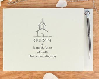 Personalised 'Church' Guest Book & Pen, Wedding Guest Book, Christening, Baptism,  Free UK Delivery