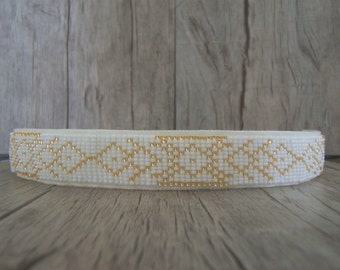 Headband hair, tight head, Headband, headband and adjustable woven in Pearl White and gold Personnalisable