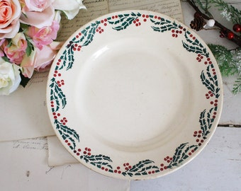Vintage French Ironstone Plate - Decorative Christmas Plate - HOUX - Hamages & Moulin Des Loups